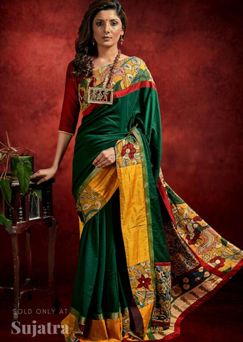 Green crepe satin saree with hand painted kalamakari border