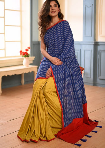 Exlcusive ikat & mustard semi silk combination saree