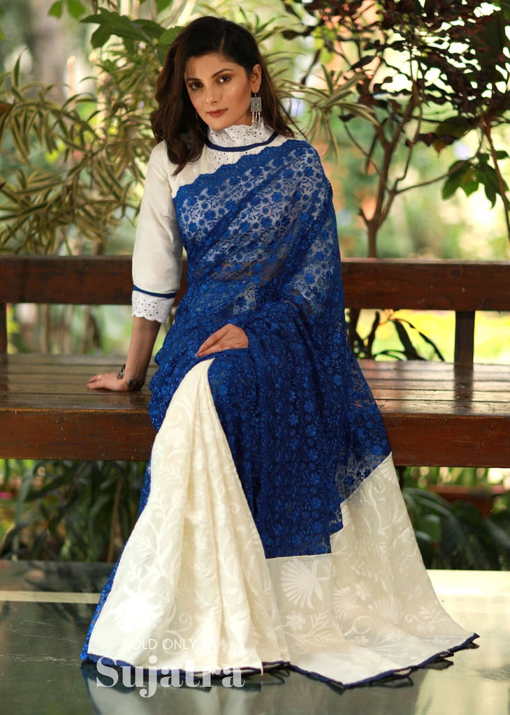 Blue lace saree with embroidered cotton pleats - Sujatra