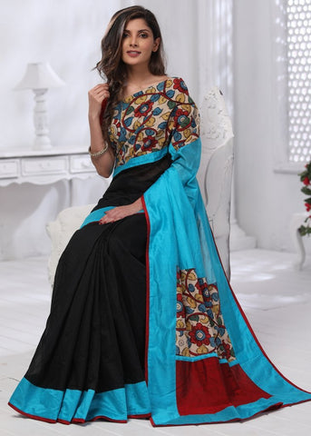 Black chanderi saree with hand painted kalamkari border & blue chanderi pallu