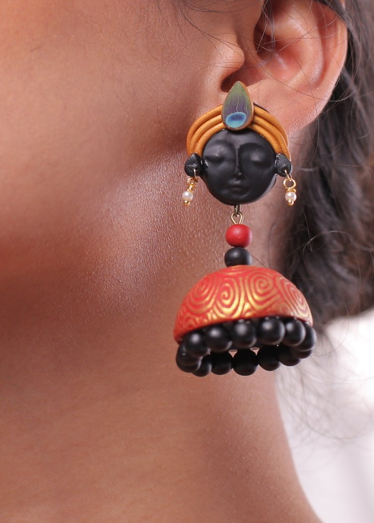 Exclusive handmade polymer clay traditional jhumka