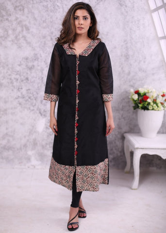 Black chanderi dress with contrast printed collar, piping & hem