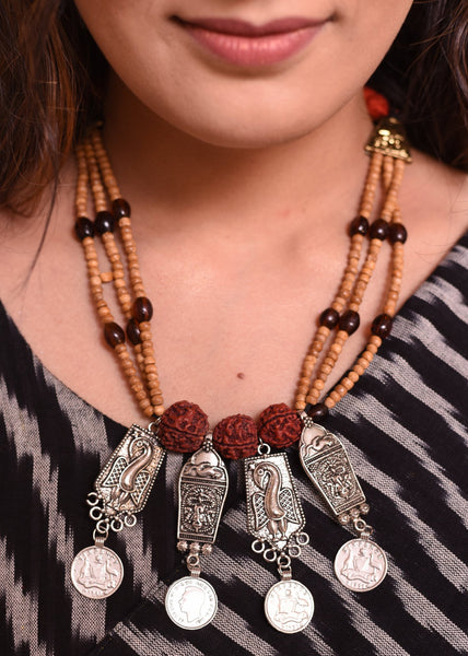 Exclusive multi layered necklace with wooden beads & unique pendants - Sujatra