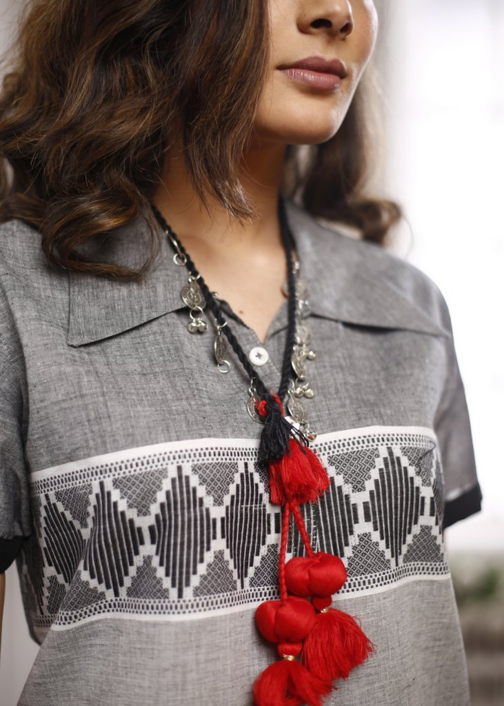 German silver coin tassels with beautiful red striking tassels Necklace - Sujatra