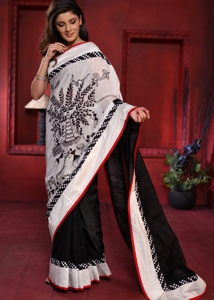 Black chanderi combination saree with exclusive print in front - Sujatra