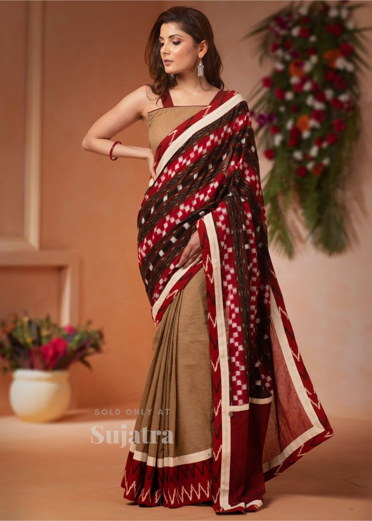 Exclusive orrisa ikat & handloom combination saree - Sujatra