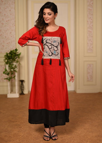 Red Cotton Silk kurti with exclusive madhubani hand painting