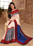 Off White chanderi saree with exclusive printed silk border combination