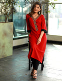 Red straight cut Handloom Kurta with Hand made Kutch mirror work Neckline
