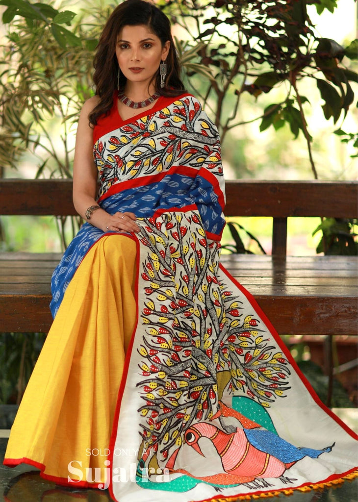 Exclusive Gond tribal art painted saree with ikat & handloom cotton pleats - Sujatra
