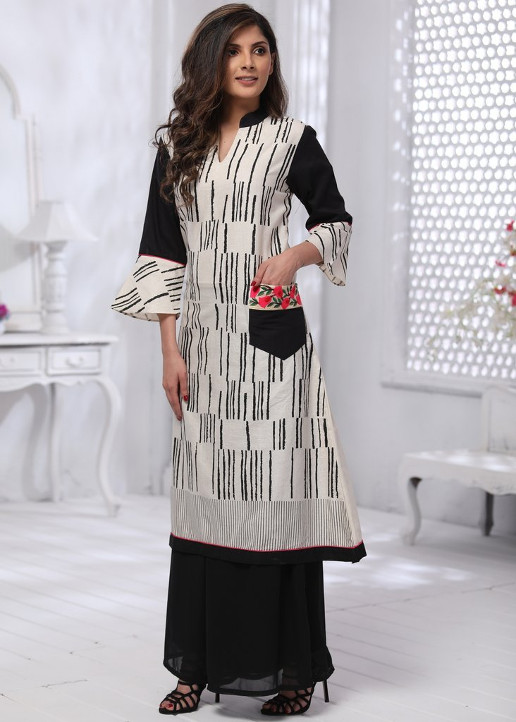 Off-white and black asymmetrical stripes cotton dress with embroidered patch pocked and black cotton silk sleeve - Sujatra