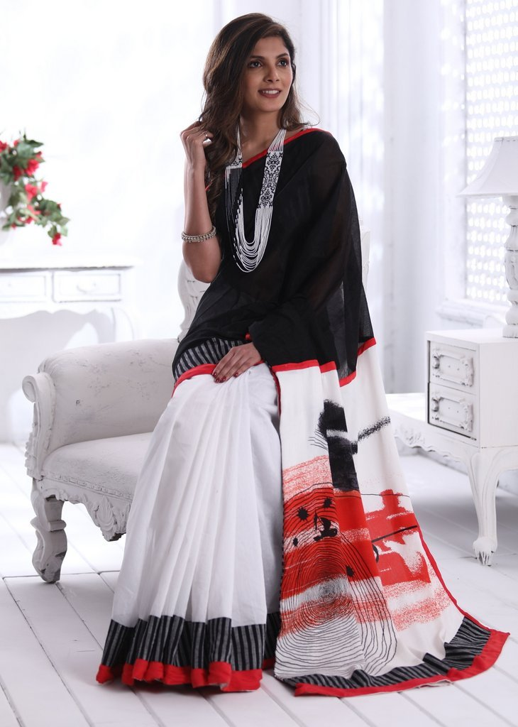 Black & White chanderi saree with abstract printed cotton pallu - Sujatra