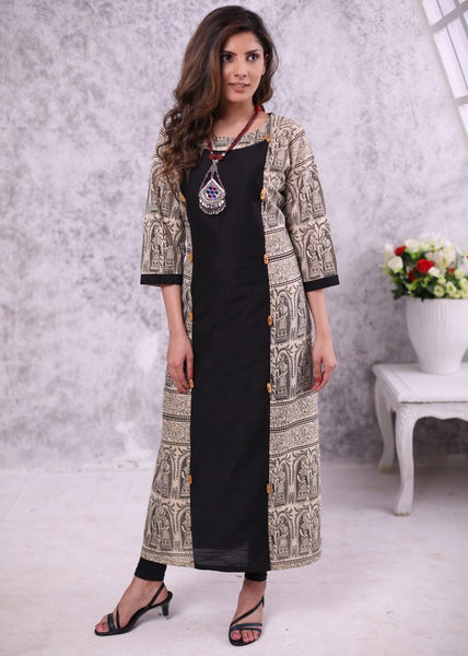 Exclusive black cotton silk dress with printed madhubani combination