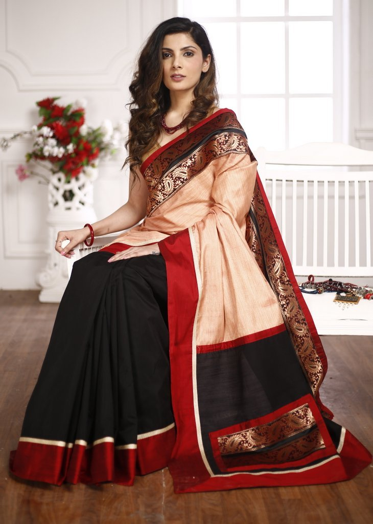 Exclusive benarasi border with peach semi silk saree & black chanderi pleats - Sujatra