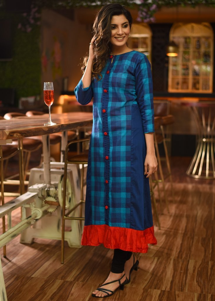 Exclusive checks handloom cotton kurti with red frills border