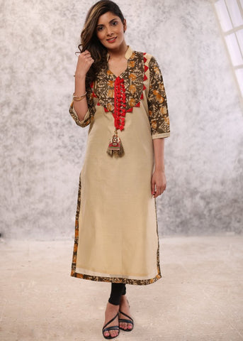 Cream chanderi kurta with olive green printed yoke & tessels