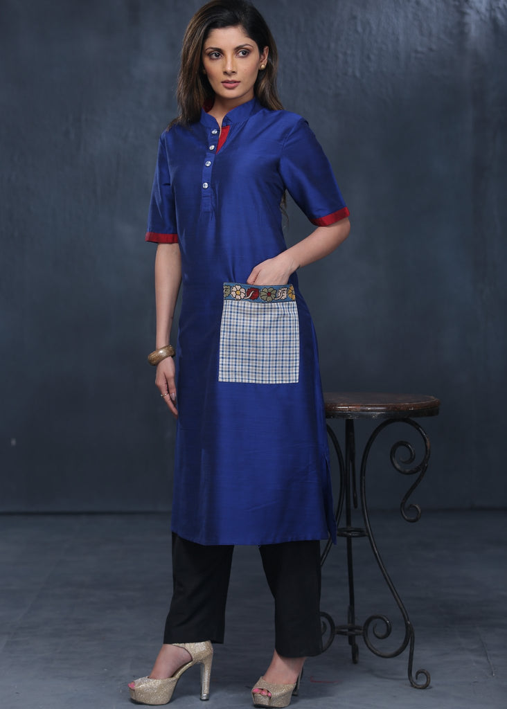 Blue cotton silk kurta with printed cotton pocket with matching buttons
