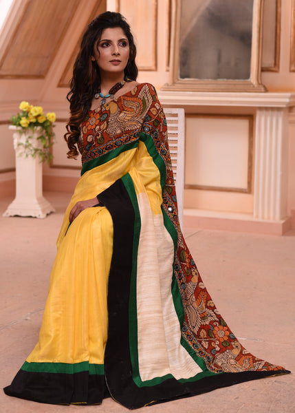 Exclusive yellow bhagalpuri silk saree with hand painted kalamkari border & kutch mirror work with ghicha pallu - Sujatra