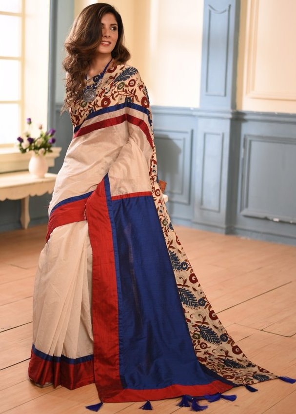 White chanderi saree with printed kalamkari border - Sujatra