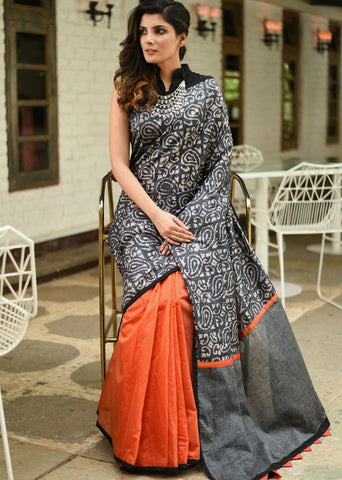 Exclusive batik printed saree with orange chanderi pleats