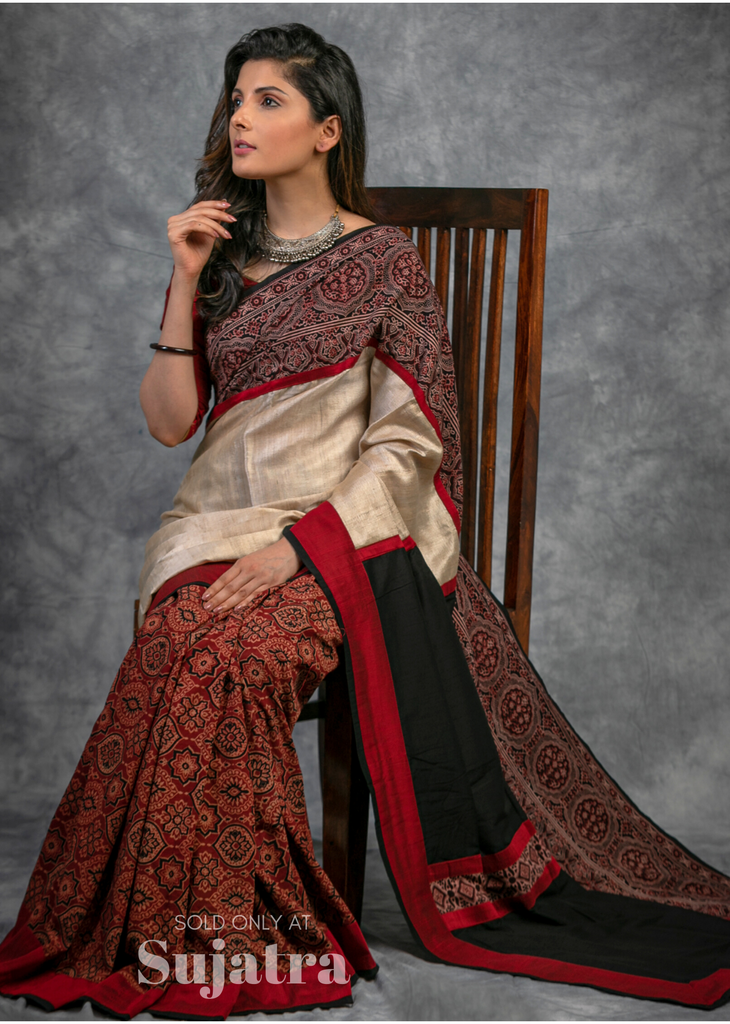 Exclusive block printed Ajrakh & pure tussar silk combination saree