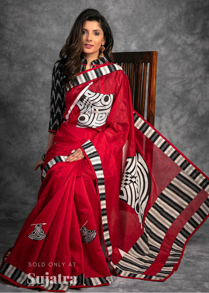 Red chanderi saree with exclusive hand painted work & ikat border