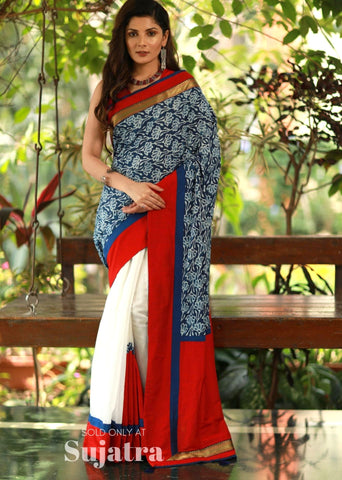 Indigo printed saree with zari border & chanderi pleats