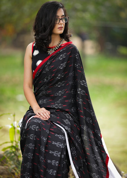 Exclusive Ikat & white cotton silk pallu combination saree