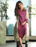 A-line Handloom Cotton  Kurta with Ikat panel and sleeves