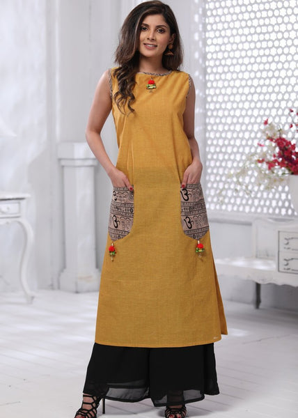 Yellow handloom cotton dress with parrot tassels & mantra print pockets