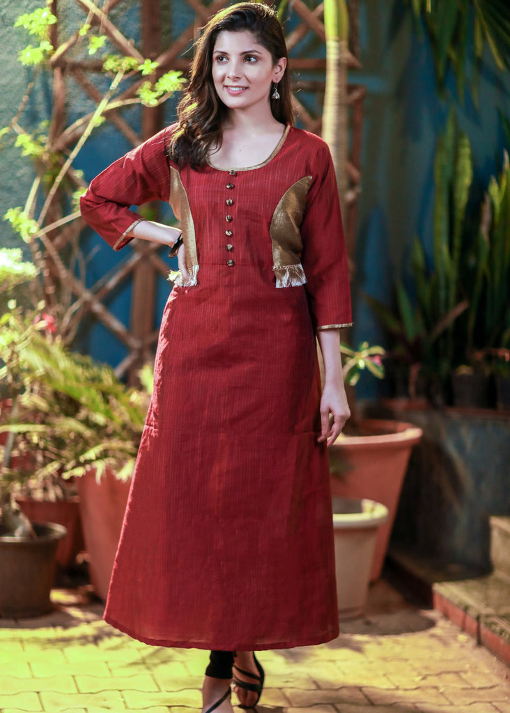 Maroon handloom cotton kurti with golden combination - Sujatra