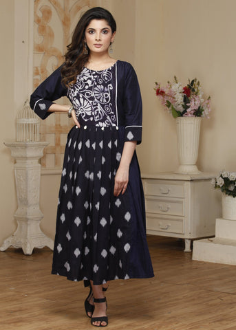 Exclusive Ikat & Batik combination cotton silk kurti