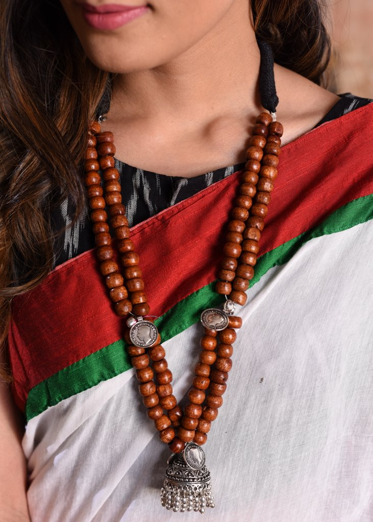 Exclusive Wooden beads with german silver pendant necklace