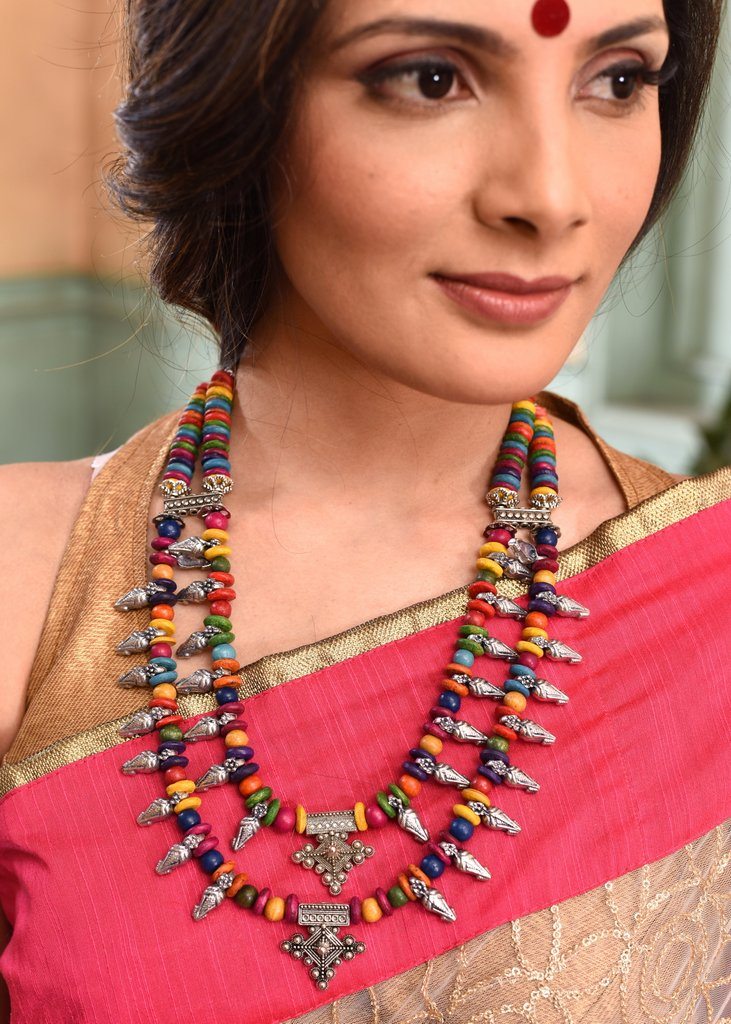 Exclusive double layered multicolored necklace set - Sujatra