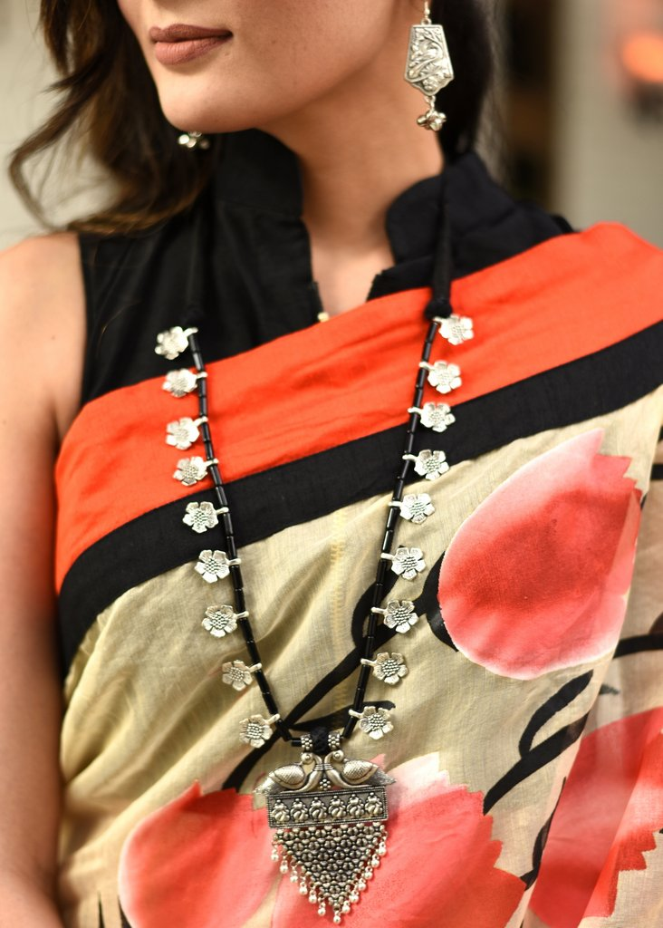 Exclusive long necklace with german silver floral beads & pendant - Sujatra