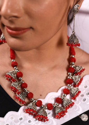 Exclusive thread balls & jhumka pendant combination necklace set