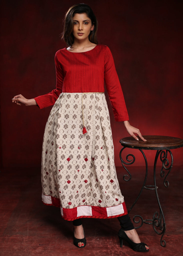 Red and cream embroidered Cotton A-line kurta with floral prints