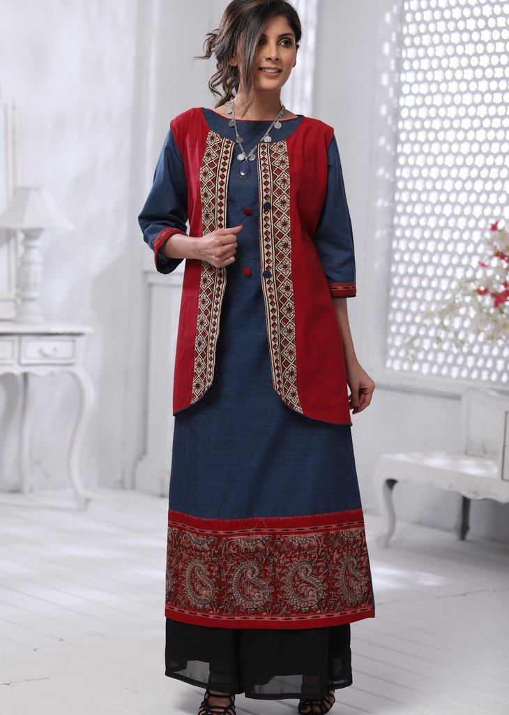 Blue handloom cotton dress with kalamkari border & ethnic jacket