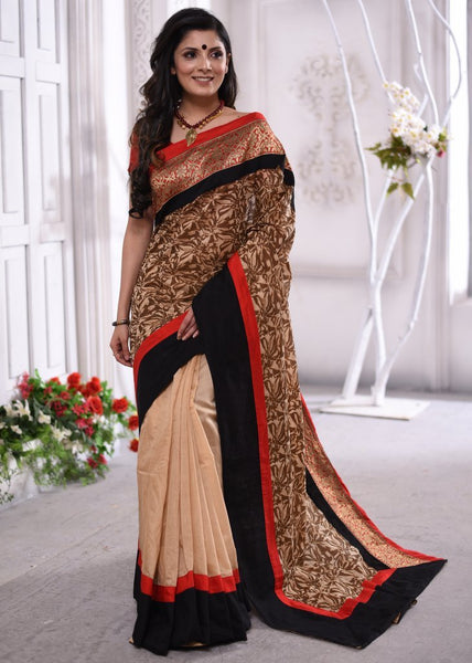 Exclusive printed chanderi saree with intricate zari border - Sujatra
