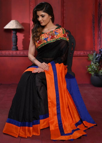 Black chanderi saree with exclusive hand painted saothal painting & orange cotton silk pallu