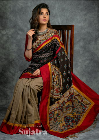 Exclusive hand painted kalamkari with sambalpuri ikat combination saree