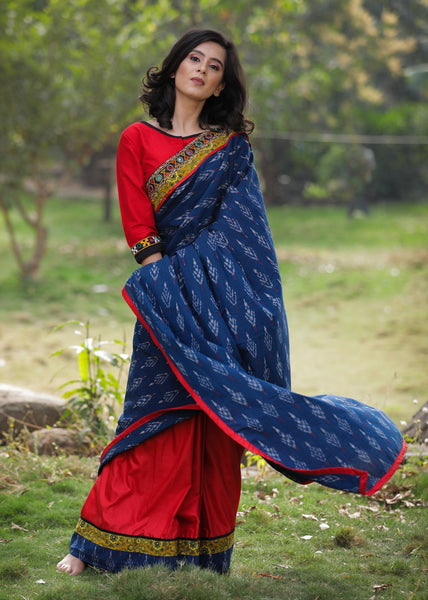 Blue Ikat & red semi silk combination saree with kutch mirror work border