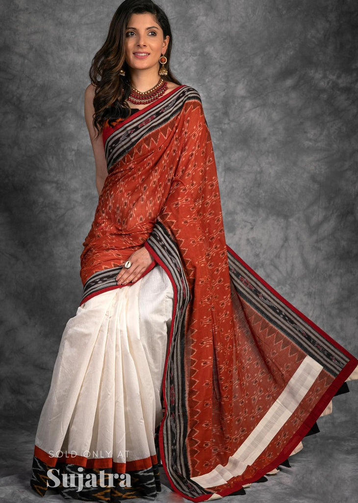Designer Sambalpuri ikat saree with chanderi pleats