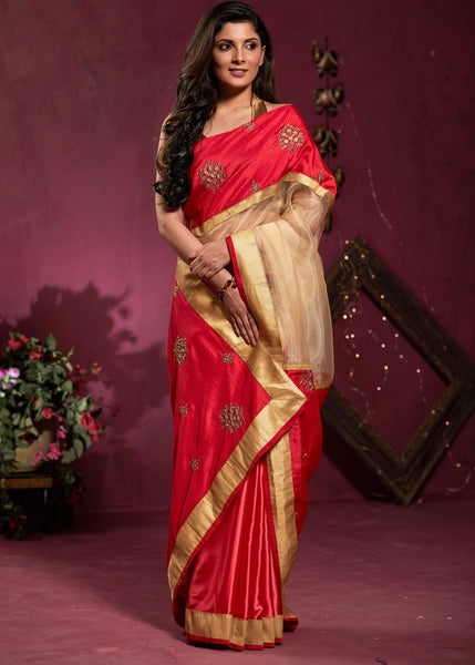 Tissue & satin pleats combination saree with embridered pallu & border
