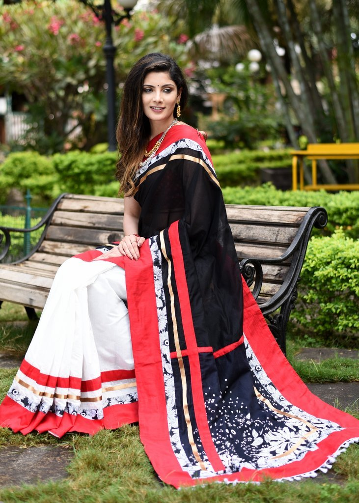 Combination of black & white chanderi saree with printed pallu & border - Sujatra