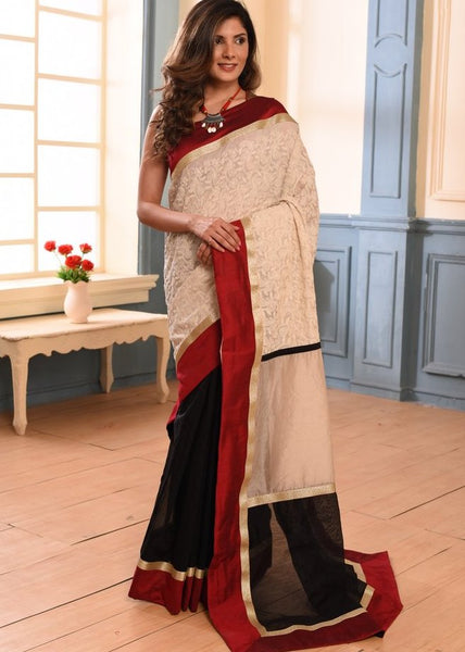 Elegant embroidered saree with black chanderi pleats
