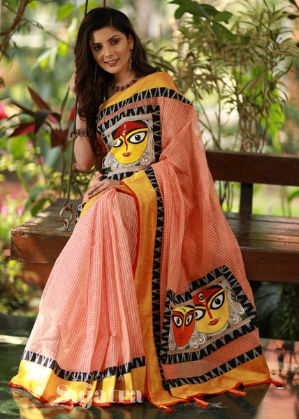 Bengal handloom gamcha saree with hand painting & ikat combination - Sujatra