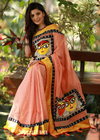 Bengal handloom gamcha saree with hand painting & ikat combination