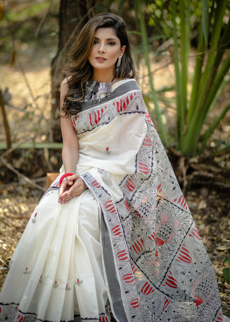 Exclusive pure cotton all over hand painted madhubani saree