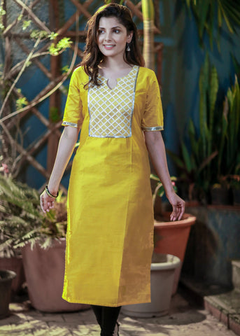 Yellow chanderi kurti with embroidered net combination